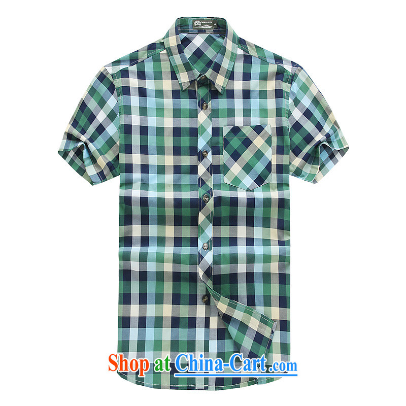 Jeep VEHICLES WITH SHORT men's short-sleeved cotton shirt fine checkered lapel business youth leisure loose washable cotton snap shirt short-sleeved shirt spent 5837 green L