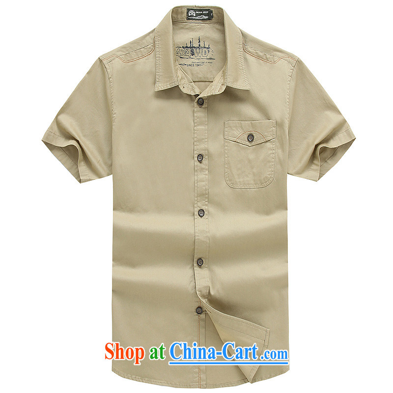 Jeep VEHICLES WITH SHORT men's short-sleeve solid color shirt lapel business youth leisure loose washable snap-T-shirt spring and summer new 5836 card its color L