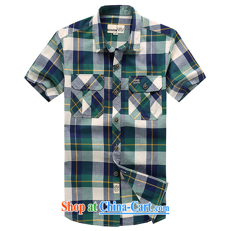 Jeep VEHICLES WITH SHORT men's short-sleeve lapel grid business and leisure washable short-sleeve cotton frock business patterned casual shirt 633 army green L