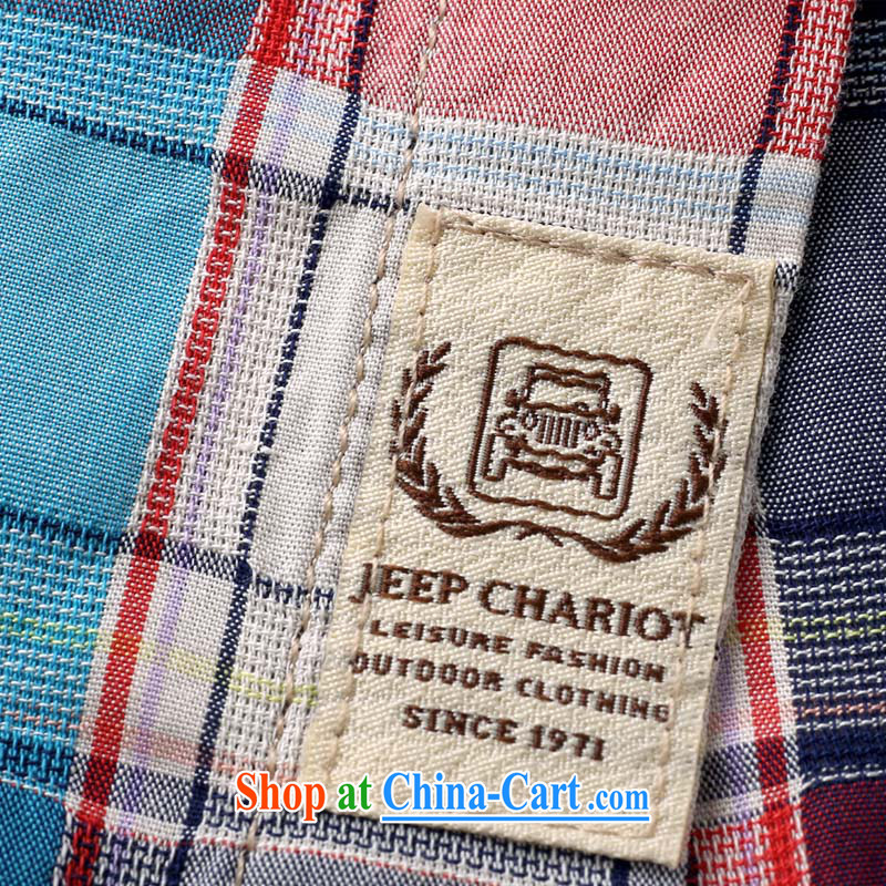 Jeep VEHICLES WITH SHORT men's T-shirt lapel youth leisure business washed short sleeve pure cotton color tie T-shirt casual shirt 632 blue L, Roma shields, shopping on the Internet