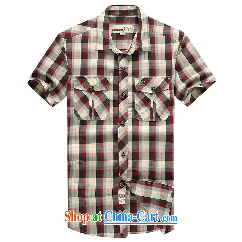 Jeep VEHICLES WITH SHORT men's short-sleeve lapel checkered dark business youth leisure cotton casual shirt 631 red L