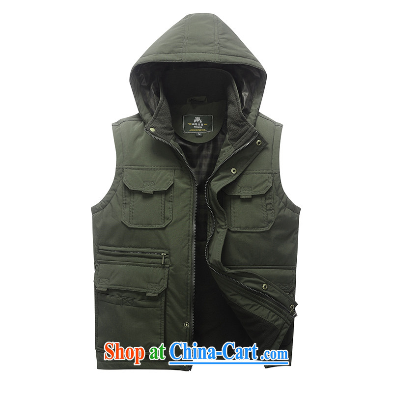 Jeep vehicles Chinese men and solid-colored sleeveless multi-pocket a to cap washed cotton business youth leisure coin zip the folder jacket 8877 army green L