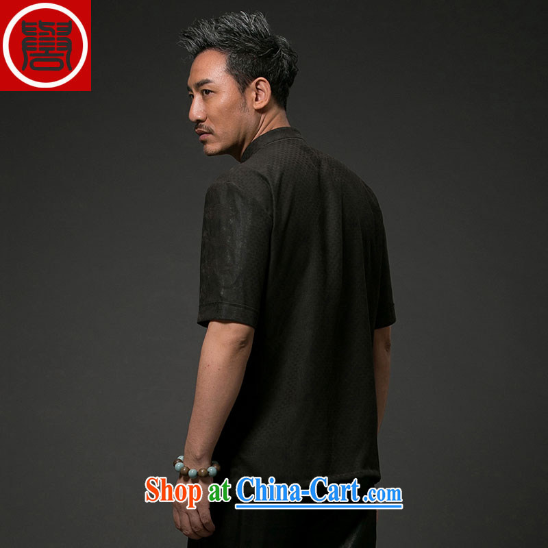 Internationally renowned Chinese wind men's Summer Scent cloud yarn is silk, older men and replacing Tang on short-sleeved men's national leisure Tang black 4XL, internationally renowned (CHIYU), shopping on the Internet