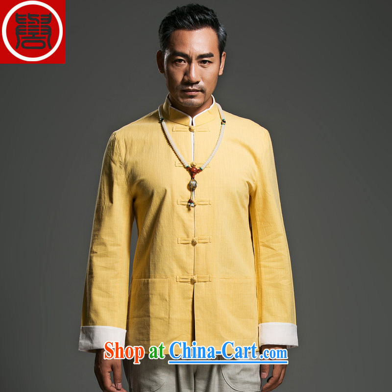 Internationally renowned Choo, linen Solid Color Tang with long-sleeved loose China wind men's jackets and fasten the nation wind yellow movement (185)