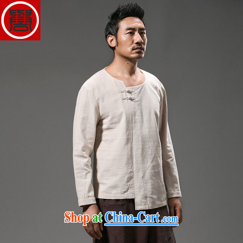 Internationally renowned Chinese wind smock shirts and long-sleeved hand-tie men's summer and autumn with Han-T-shirt improved Chinese national costume white XXXL