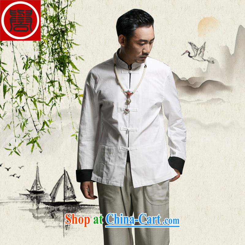 Internationally renowned Han-Chinese men's summer Chinese Chinese Wind and smock Tang with summer White (170)