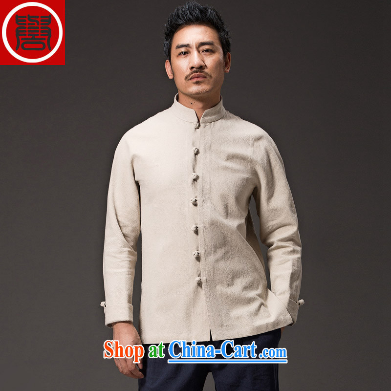 Internationally renowned Chinese wind men's cotton the Chinese shirt Ethnic Wind clothing men's beauty is detained by China for long-sleeved shirt improved Chinese White XXXL