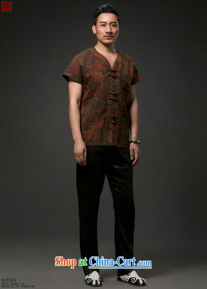 Internationally renowned Chinese wind men's Chinese short-sleeved shirt with Chinese silk silk shirts men's fragrance cloud yarn short-sleeve T-shirt wine red 4 XL pictures, price, brand platters! Elections are good character, the national distribution, so why buy now enjoy more preferential! Health