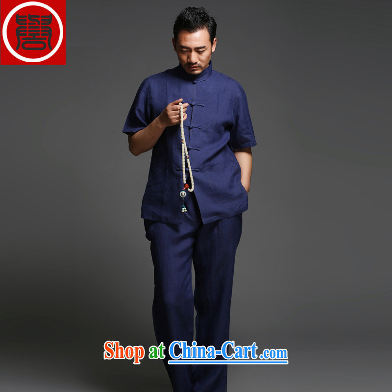 Internationally renowned Chinese wind in 2015 older men's casual linen tray clip short-sleeved-tie retro relaxed and Chinese Kit dark blue _short-sleeved_ Movement _3_ XL