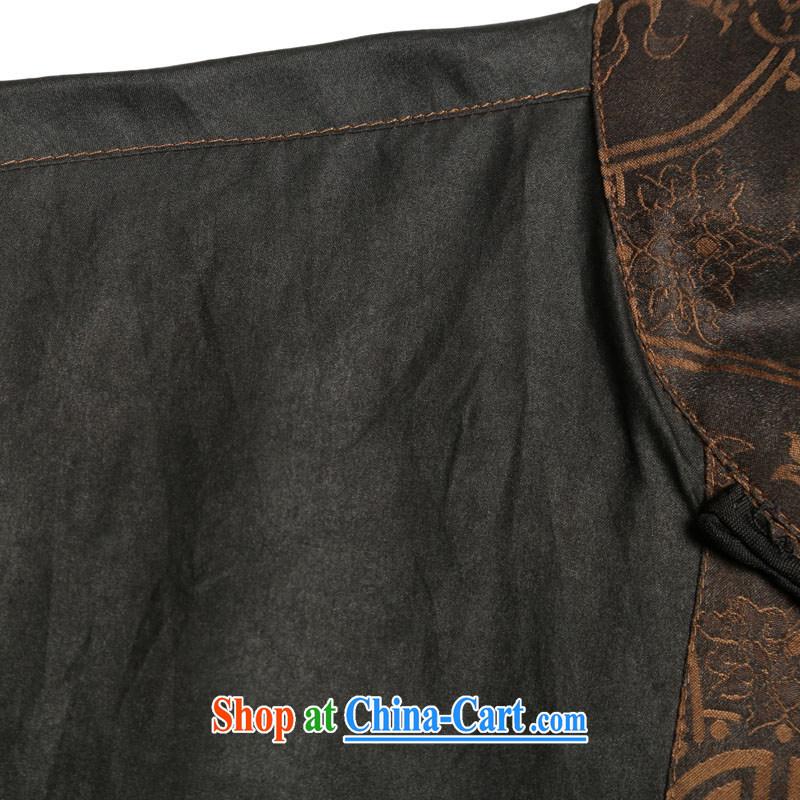 Internationally renowned men's Silk short-sleeved Chinese male Chinese shirt sauna silk shirt Hong Kong cloud yarn men's short-sleeved Tang black聽large 175, internationally renowned (CHIYU), online shopping