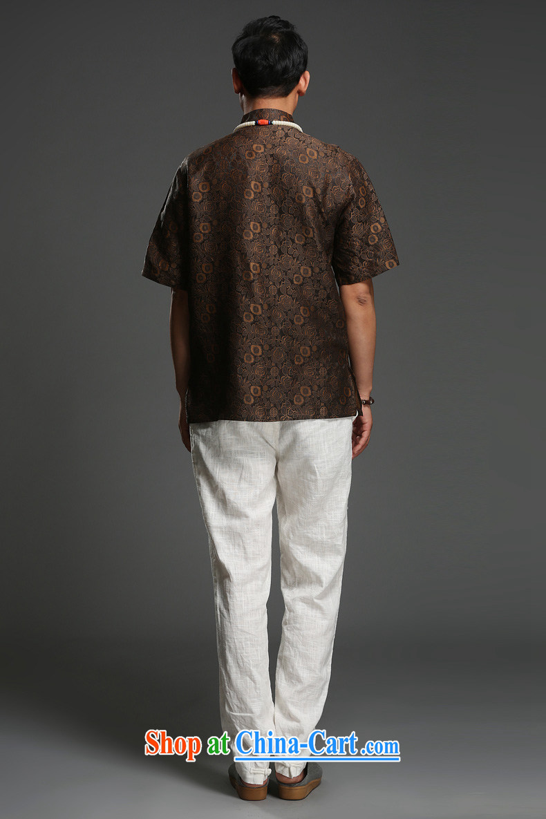 Internationally renowned national turmoil 2014 summer shirt men's 100% sauna silk shirt short-sleeve and collar silk Tang with brown, (185) pictures, price, brand platters! Elections are good character, the national distribution, so why buy now enjoy more preferential! Health