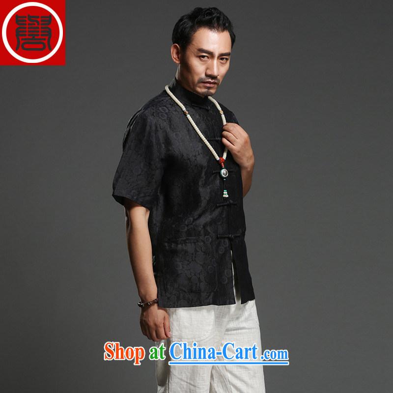Internationally renowned national turmoil 2014 summer shirt men's 100% sauna silk shirt short-sleeve and collar silk Tang with brown, (185) and internationally renowned (CHIYU), online shopping