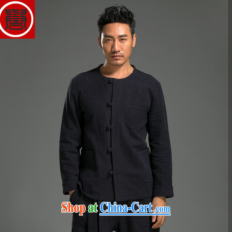 Internationally renowned Chinese wind the tray snaps shirt autumn and the new retro men's beauty ethnic wind linen long-sleeved T-shirt dark blue _3 XL_