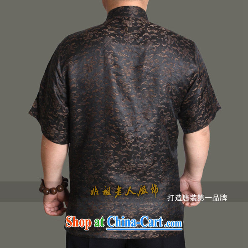 Summer 2015 new middle-aged and older upscale men's short-sleeved incense cloud yarn Tang on his father's summer 180 Brown, Adam, and elderly, and online shopping