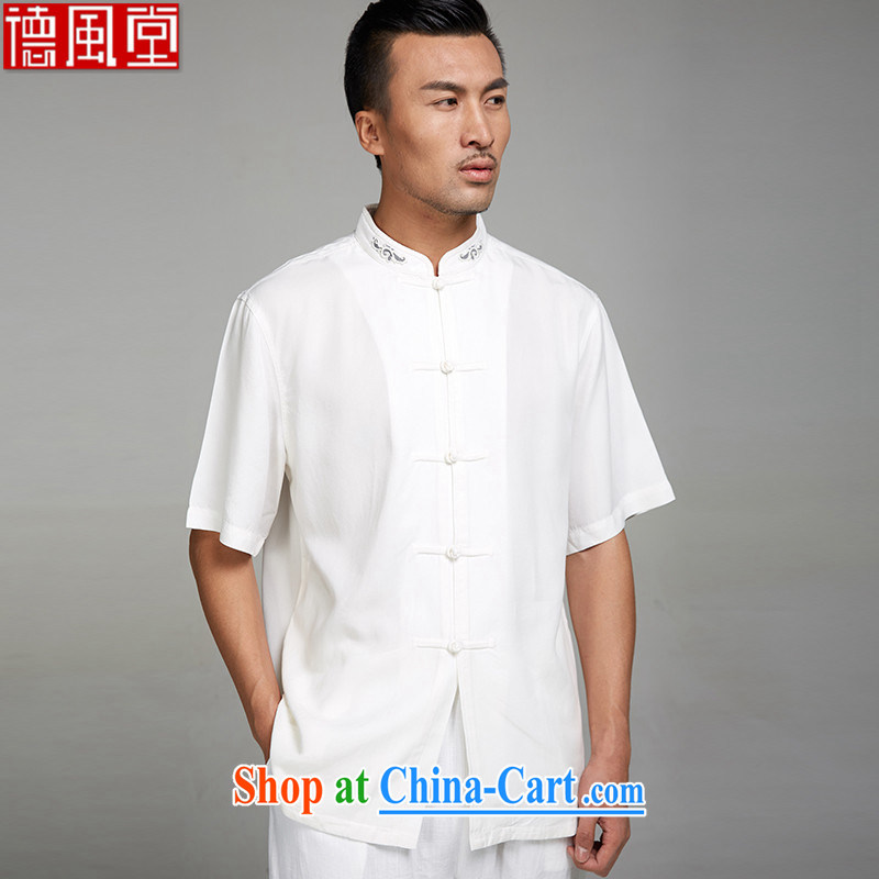De-Tong Lin white 2015 new 100_ TENCEL summer men's Chinese short-sleeved ethnic wind standard embroidery Chinese clothing white XL