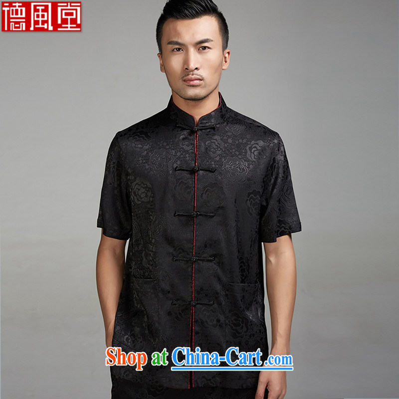 Wind, Michael Tong Jun 2015 summer new 100_ Polyester half sleeve-tie men's Chinese short-sleeve Ethnic Wind Chinese clothing black XXL