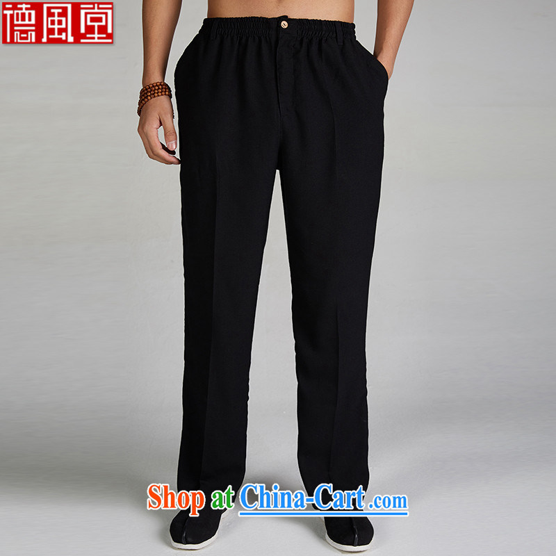 De-tong Catch air 2015 Chinese men's cotton the casual summer pants jogging home trousers elasticated trousers China wind Chinese clothing black L