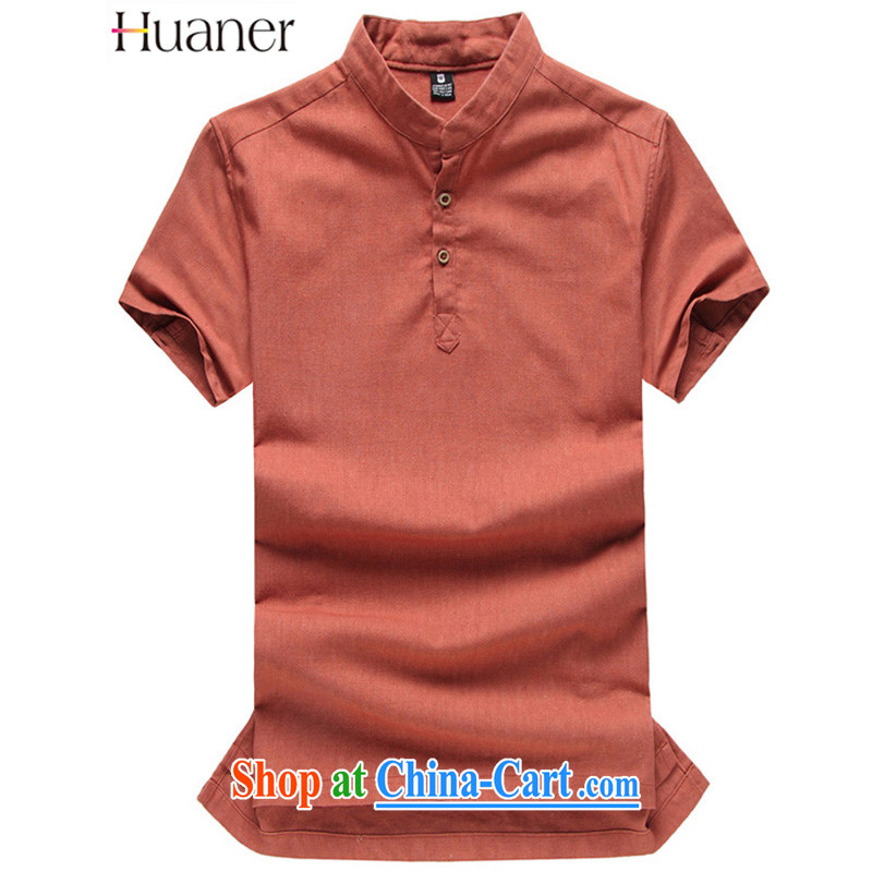 HUANER summer 2015 China wind and smock-han-?linen short-sleeve Chinese men's shirts MELD - ice cream - Orange XXL