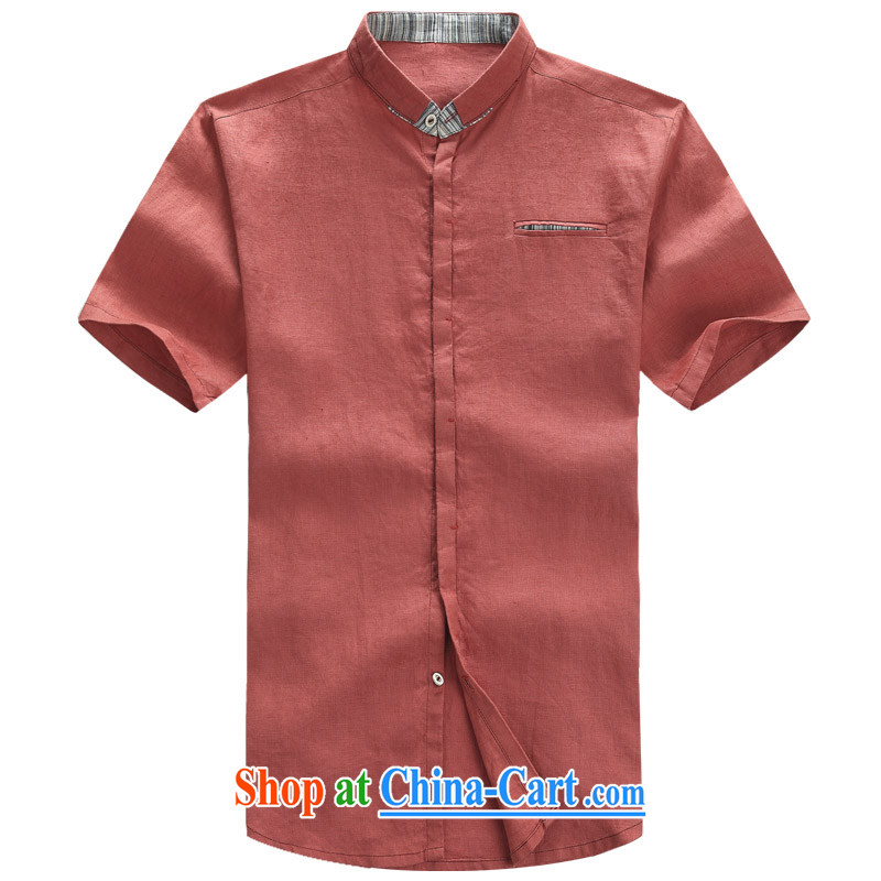 2015 new Chinese short-sleeve men's cotton Ma T-shirt Chinese style Chinese men and cotton MA, collared T-shirt shirt ethnic wind men's coin basket Tang Yau Ma Tei with a short-sleeved rusty red XXXL_190