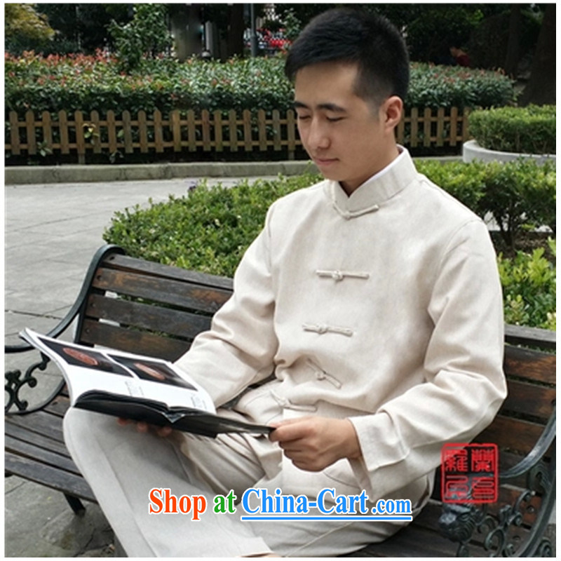 New China wind spring and autumn men's traditional culture Chinese linen long-sleeved Chinese meditation service Nepal Service Package Cornhusk yellow package XXXL_recommended weight around 190
