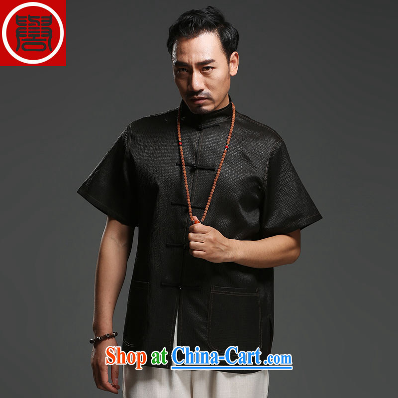 Internationally renowned sauna silk Ethnic Wind Chinese middle-aged and older men with silk fragrant cloud yarn T-shirt short-sleeved silk Tang black 185