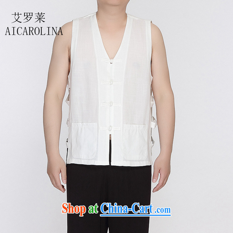 The Carolina boys 2015 new summer male Chinese T-shirts vest, shoulder vest no t-shirts Chinese character T-shirt white XXXL