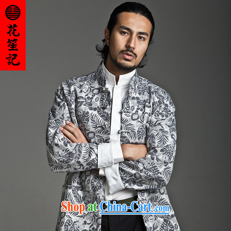 His Excellency took the wind in Dili Mong flowers Chinese men and taxi stand collar long-sleeved cultivating Chinese T-shirt jacket cotton small gray _S_