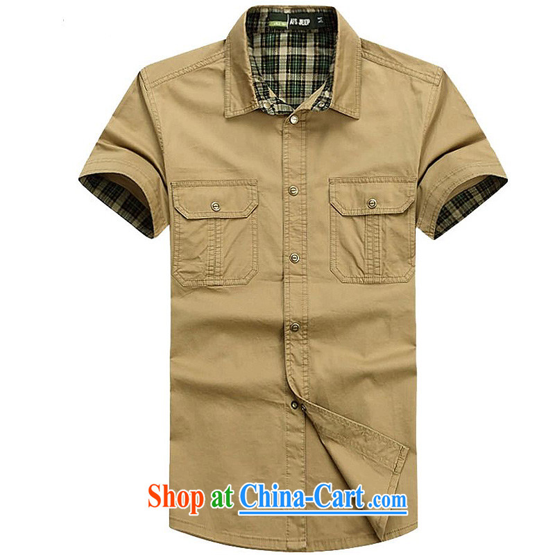 Jeep shield Tang with men and a short-sleeved shirt Solid Color stitching lapel shirt Pure Cotton Men's business casual snap short sleeve T-shirt 6829 card the color 5 XL
