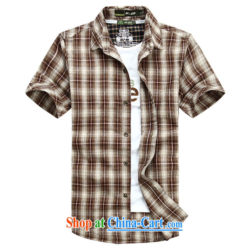 Jeep shield Chinese men and lapel shirt frock checked short-sleeved men's snap-T-shirt youth business and leisure cotton plaid short-sleeved shirt 6835 red XXXL