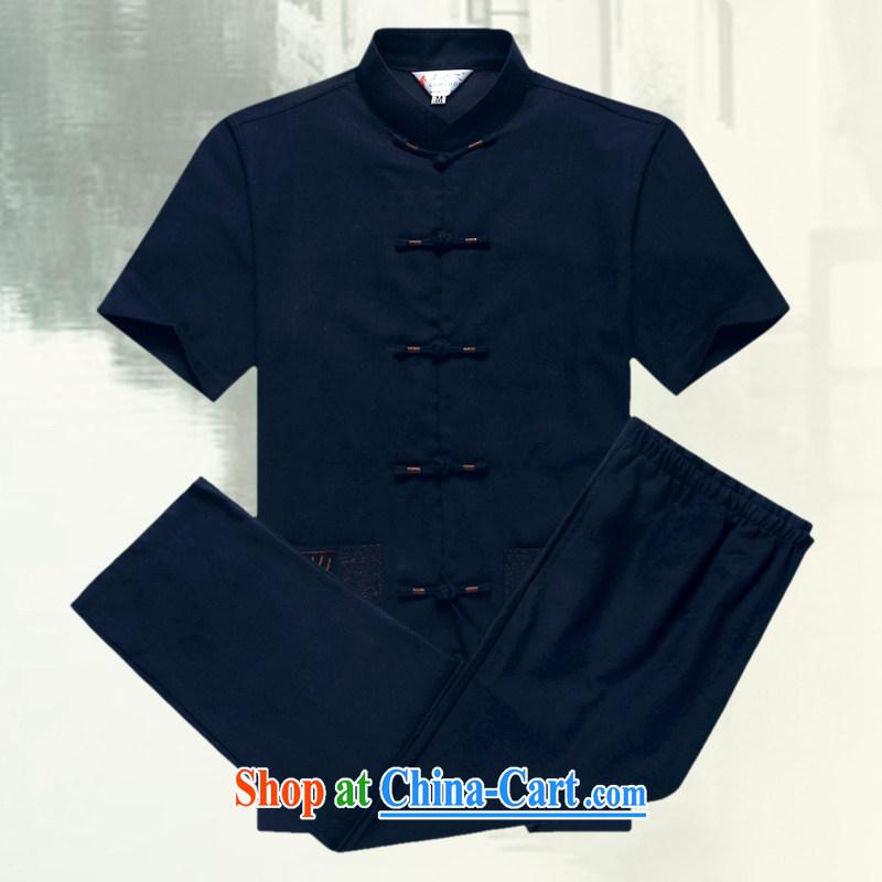 Tang is the short sleeve T-shirt with new summer, men's cotton Tang Yau Ma Tei in older Tang replace short-sleeved father replace D 236 blue-black kit XXXL