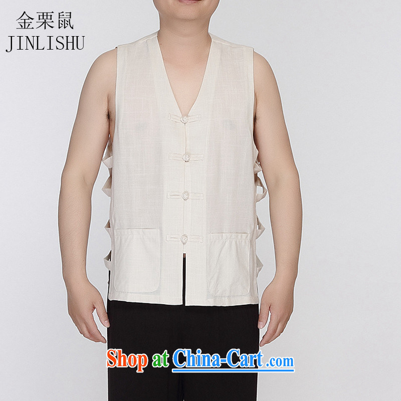 The poppy in the older summer men and a Chinese vest Tang with the shoulder eschewed the folder cool T-shirt beige XXXL