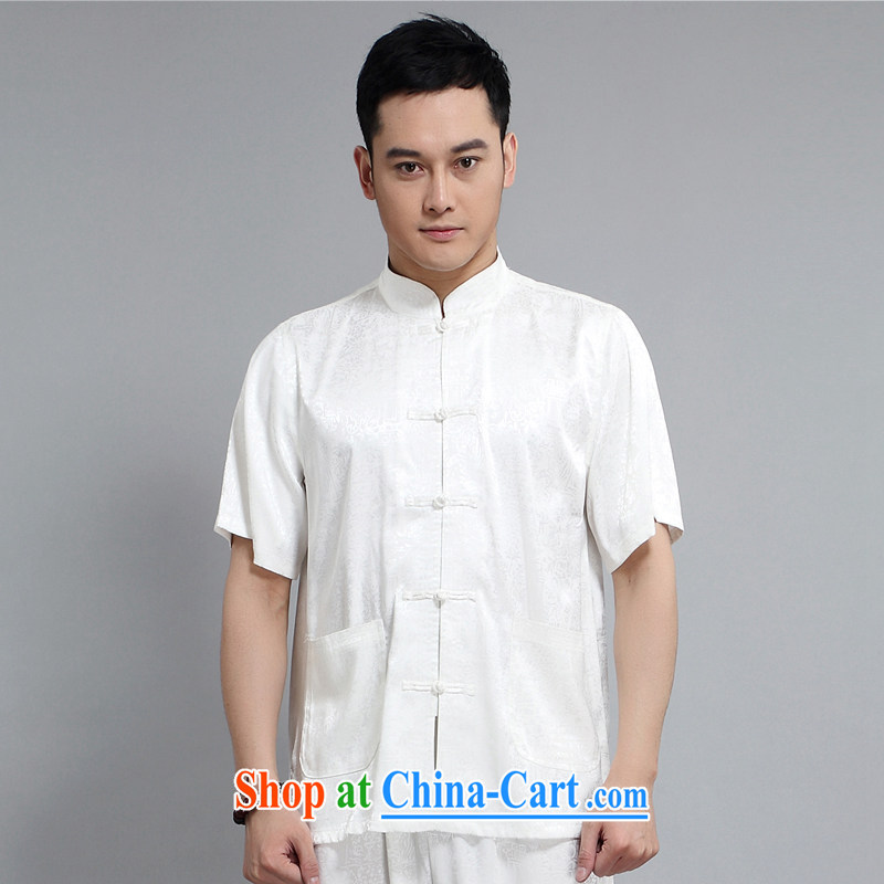 Middle-aged and older Chinese kit, short-sleeved T-shirt Tai Chi practice suits cotton summer the father with white package 190 XXXXL
