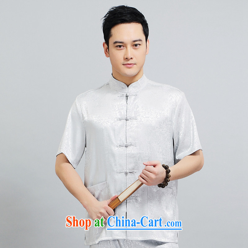 2015 New Men's short sleeve installed in the morning Tai Chi practice serving China wind short-sleeved Chinese father with 1501 gray package 170 L