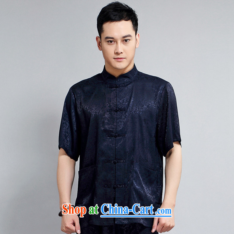 Spring 2015 New Men's Chinese short sleeve with his father in older Tai Chi practice suits China wind, short-sleeved Kit 1501 blue package 175 XL