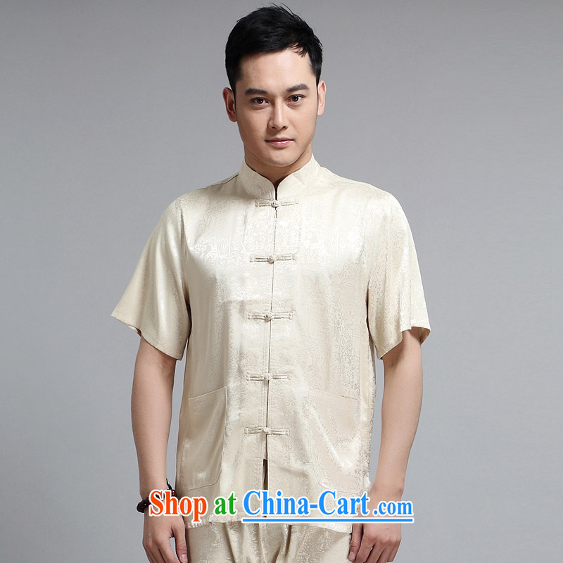 2015 New Men's Chinese package morning Tai Chi 练练功 serving China wind short-sleeved father replacing older sauna silk Tang replace 1501 package yellow 190 XXXXL