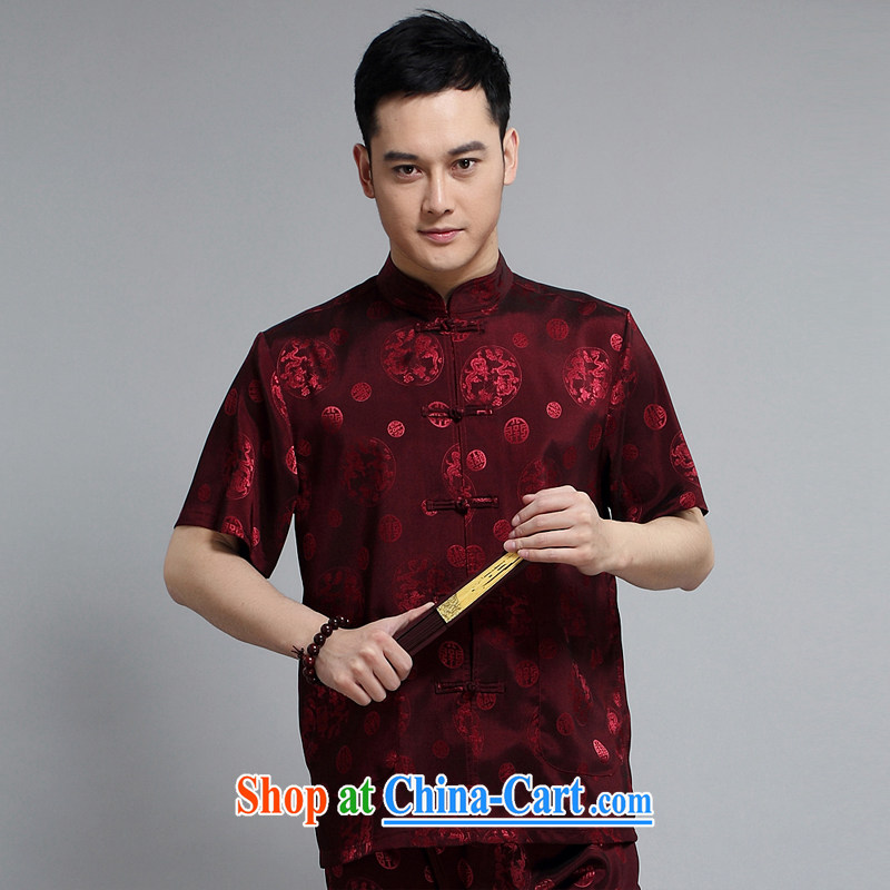 Mr Tang is set for men's short-sleeved tops sleeve with new short-sleeved father replacing Tang replace older exercise clothing Tai Chi Kit 1502 red 190 XXXXL