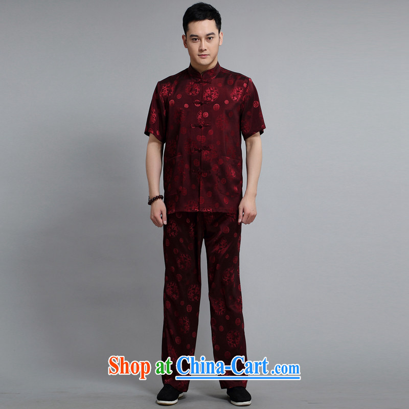 Mr Henry Tang is a leading male short-sleeved tops sleeve with new short-sleeved father replacing Tang replace older exercise clothing Tai Chi Kit 1502 red 190 XXXXL, Van Gogh (MUFONCE), online shopping