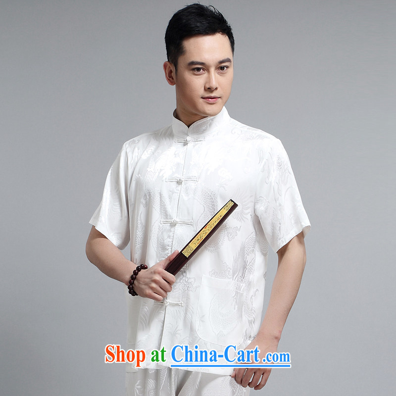 In 2015 older sauna silk casual new male Chinese, for package morning Tai 练练功 serving China wind, short-sleeved father replace 1505 white package 180 XXL