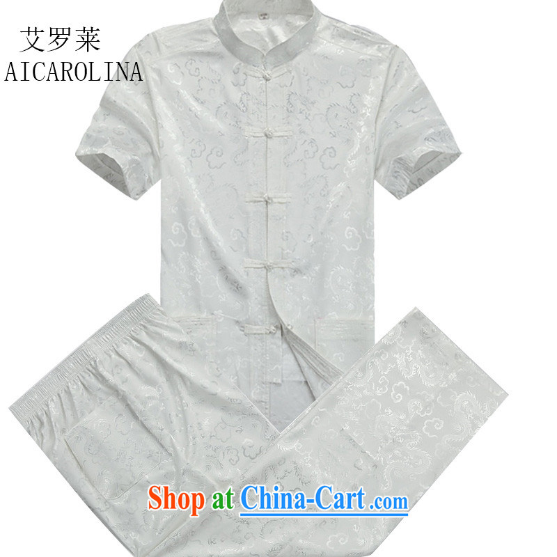The middle-aged, male Tang load short-sleeved, for package middle-aged and older men, summer T-shirt casual Tang with beige Kit XXXL