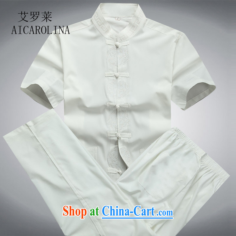 The Carolina boys 2015 summer new, middle-aged short-sleeved Tang replace Kit men half sleeve Chinese men's father with white package 190/XXXL
