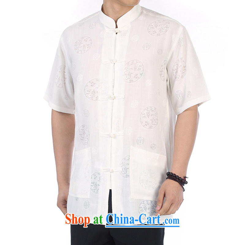 Kim Ho-the new China wind men's Chinese shirt, short-sleeved upmarket older Dragons circle take jacket Chinese father with beige XL white 43#