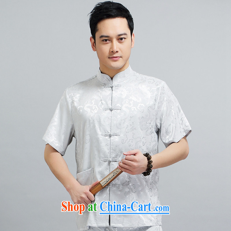 2015 men's new, short for the package with his father in the morning Tai Chi practice serving China wind short-sleeved silk Tang replace 1506 Kit gray 180 XXL