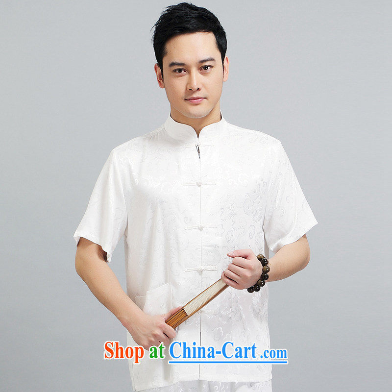 Summer 2015 New Men's Tang is the leader in package older silk Tang with his father the morning Tai Chi 练练功 serving China wind short-sleeved 1506 Package white 190 XXXXL