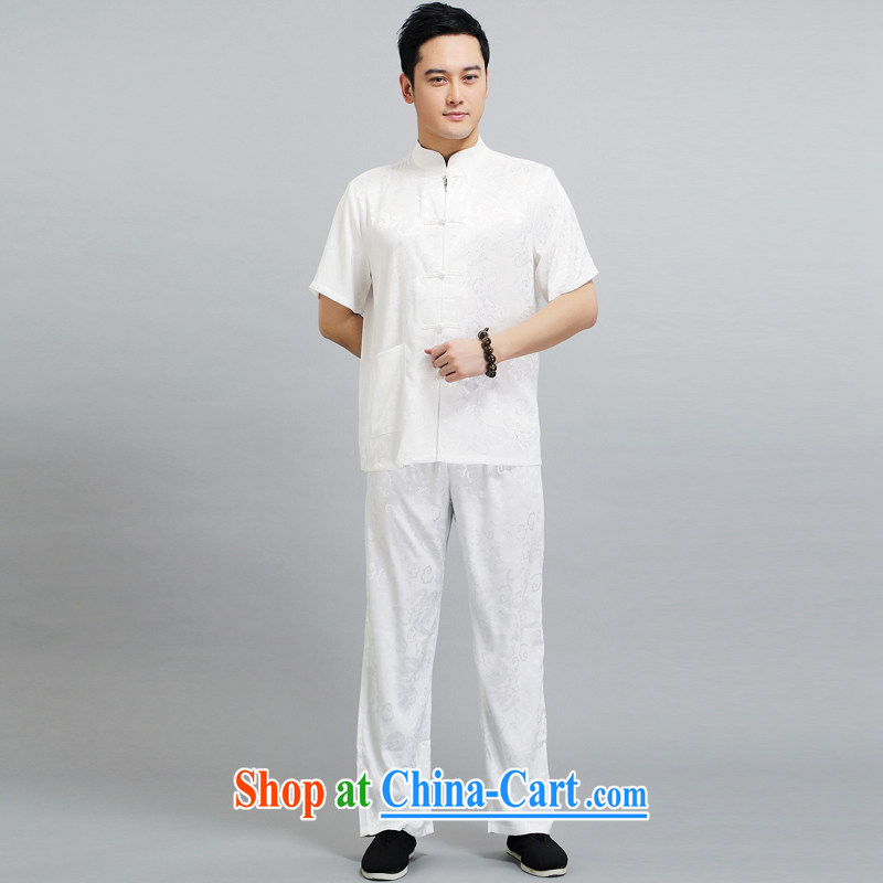 Summer 2015 New Men's Tang is the leader in package older silk Tang with his father the morning Tai Chi 练练功 serving China wind short-sleeved 1506 Package white 190 XXXXL, Van Gogh (MUFONCE), online shopping