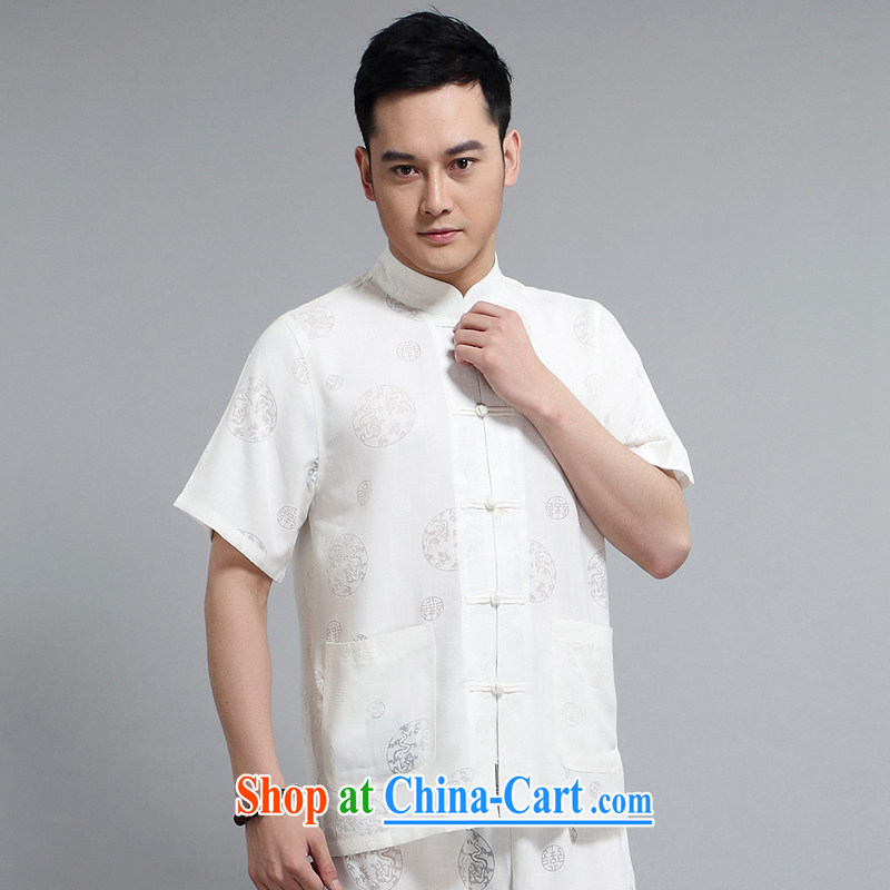 Men's Chinese package China wind, short-sleeved Tang replacing older casual older morning Tai Chi practice serving father replace 1508 white package 190 XXXXL