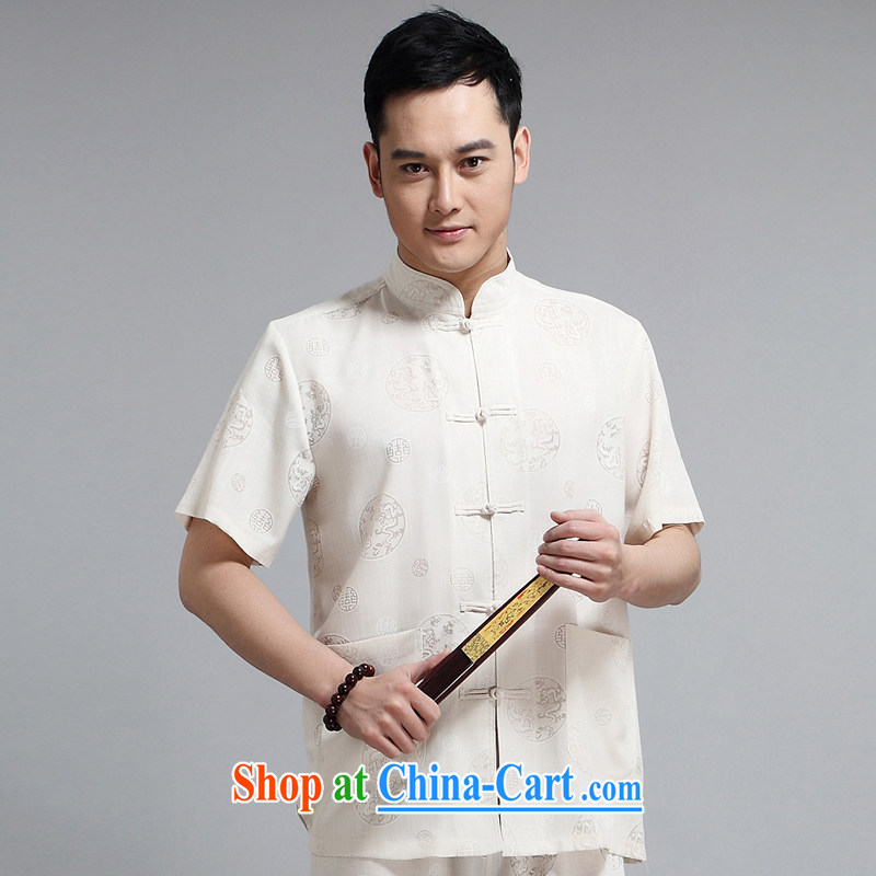 2015 men's new Chinese package 缁冪粌鍔� morning Tai Chi Kit Dad installed China wind, short-sleeved, older sauna silk casual 1508 yellow package 190 XXXXL
