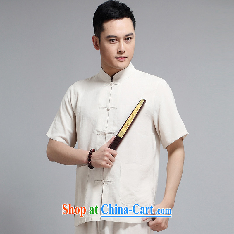 2015 new men, new Chinese in package older casual 缁冪粌鍔� morning Tai Chi Kit China wind short-sleeve father replace 1509 yellow package 190 XXXXL