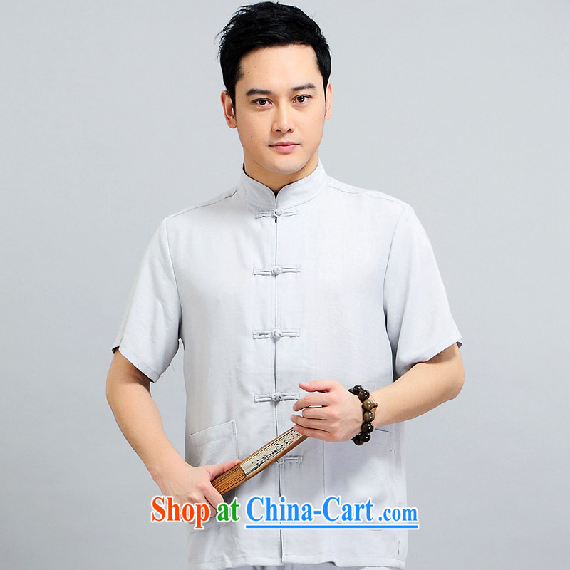 Men's 2015 new paragraph for the Tang is included in the kit older casual father replace morning Tai Chi practice serving China wind, short-sleeved Tang replace 1509 gray package 190 XXXXL
