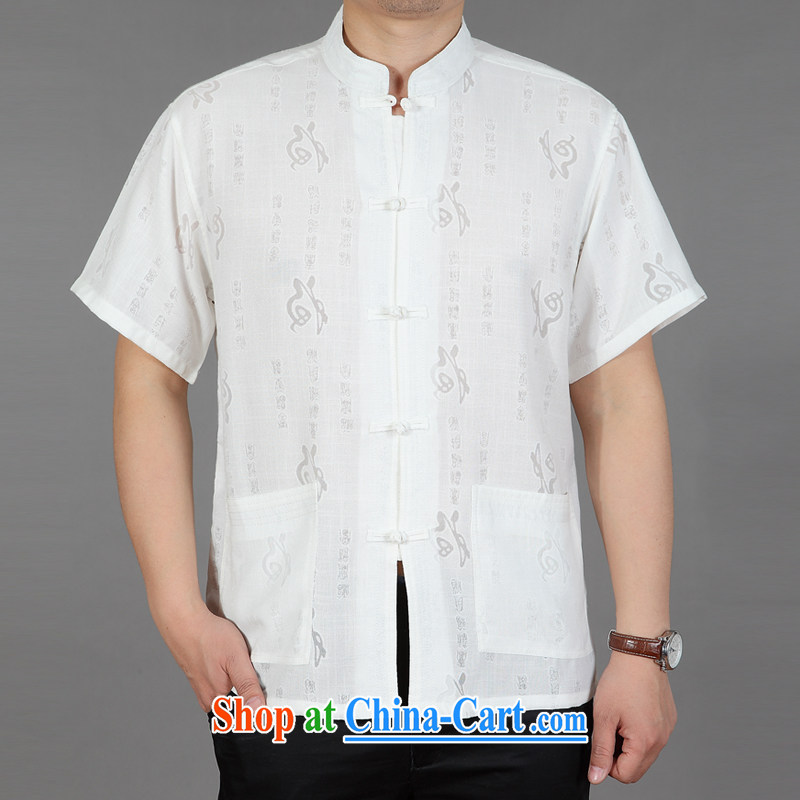 Summer 2015 middle-aged men with short T-shirt, old father with a collar from hot half sleeves T-shirt cotton Ma well white 42
