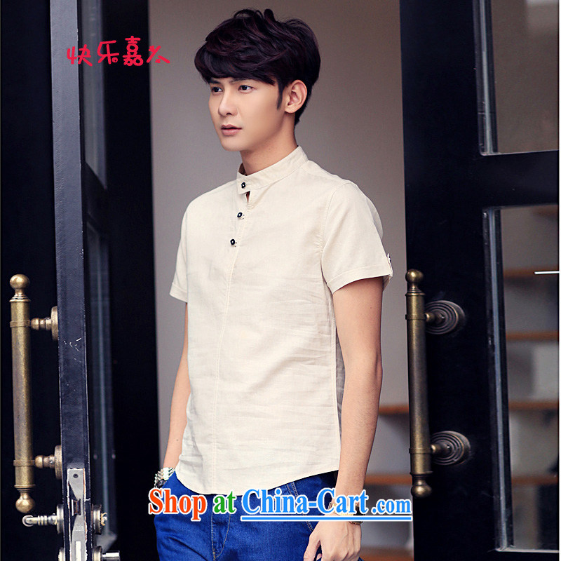Happy Ka, new summer, mighty, men's linen short-sleeve shirt C 001 card the color 4 XL